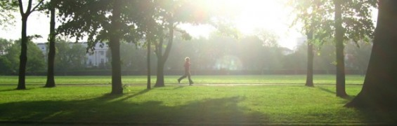 Fitness Lifestyle of an early morning runner in Regent's Park