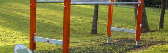 Trail and fitness equipment at Westbourne Green, parallel bars