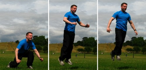 Calisthenics, jumping and bodyweight exercising outdoors
