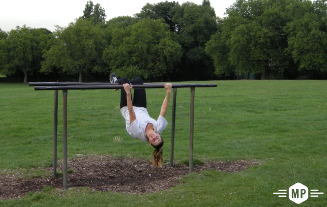 Outdoor fitness on parallel bars with distant views of London