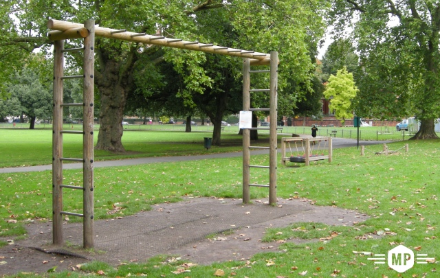 Outdoor fitness, horizontal ladder on London trim trail