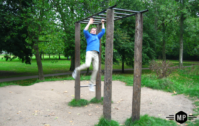 Outdoor fitness equipment in City of London park