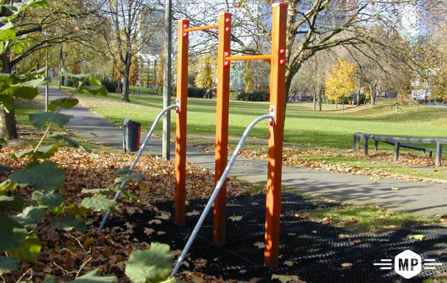 Pull up bars for outdoor fitness in urban London streetscape