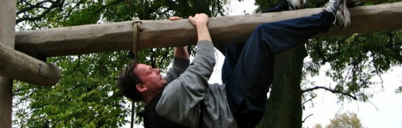 A fitness trainer demonstrates how he achieves weight loss success, by imitating Tarzan