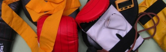 Boxing workout gear, boxing gloves, skip rope and wraps