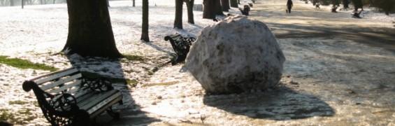 London in Snow - giant snowball on Broadwalk, Regent's Park